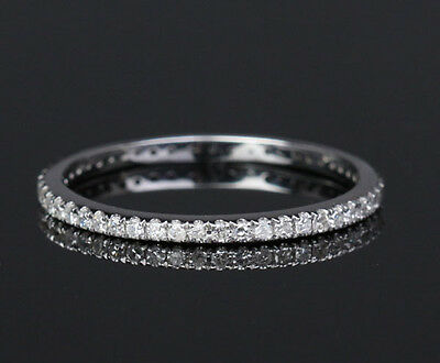 Full Eternity Band Pave Diamond 14K White Gold Wedding Ring Stackable Thin style