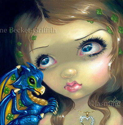 Fairy Face 190 Jasmine Becket-Griffith Fantasy Goth Baby Dragon SIGNED 6x6 PRINT