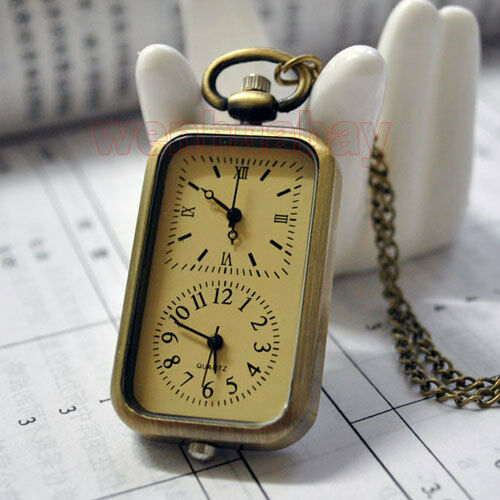 New Bronze Quartz Pocket Watch Dual Double Two Time Zone Movement Necklace P11