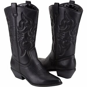 Soda Reno Women Cowboy Cowgirl Western Boots P-Leather Heel Shoes ...
