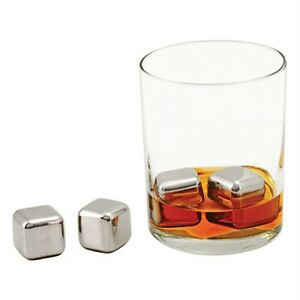 NEW-True-Boxed-Stainless-Steel-GLACIER-ROCKS-Reusable-Ice-Cubes-Gift-for-Men