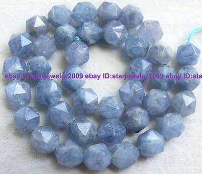 7x8mm Blue Quartz Triangle Faceted Gemstone Beads15""