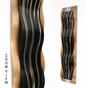 Modern-Abstract-Metal-Wall-Sculpture-Art-Black-amp-Copper-Painting-Home-Decor-New