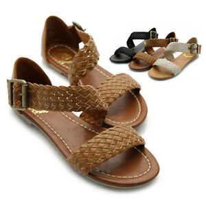 NEW-Womens-Shoes-Braided-Flats-Side-Buckle-Accent-Strappy-Gladiator-Sandals