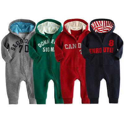 "NWT Vaenait Baby Newborn Infant Boy Fleece Jumpsuit Onepiece ""Hoodie Good Color"""