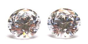084) 6 mm. Pair of 1.5 Ct Round Loose White Russian Diamond Earring Lab Sim
