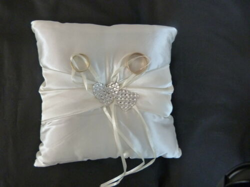 18cm SQUARE WEDDING RING CUSHION IN WHITE OR CREAM WITH JEWELLED DOUBLE HEARTS