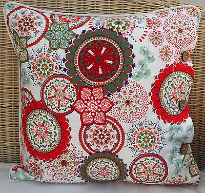 """SCATTER CUSHION COVER 40 X 40 """"WILDFLOWER - RED"""" - THROW, DAYBED, COUCH"""