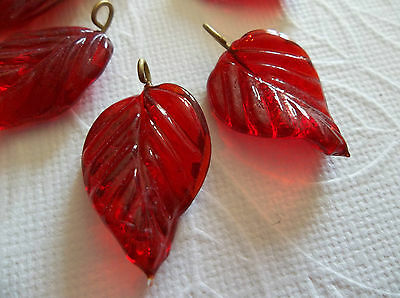 12 Ruby Red Leaf Charms Beads Leaves with Brass Loops 24mm X 14mm