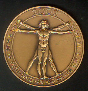 VITRUVIAN-MAN-of-LEONARDO-da-VINCI-on-2002-HEAVY-BRONZE-CALENDAR-MEDAL-UNC