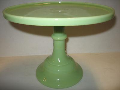 lime green milk Glass cake serving stand / plate platter pedestal raised jadeite