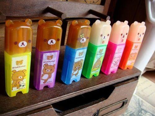 San-X Rilakkuma Relax Bear Cute Mini Fluorescent Highlighter Marker Pen 6pcs Set