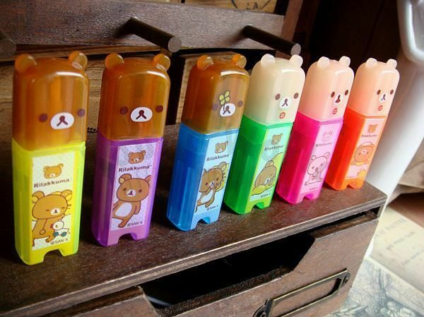 San-X Rilakkuma Relax Bear Cute Mini Fluorescent Highlighter Marker Pen 6pcs Set