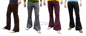 Mens-Flares-Bell-Bottoms-Cords-Hippy-Fancy-Hippie-70s-Jeans-Retro-Dress-Trousers