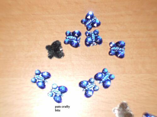 40 Acrylic Butterfly Flat Back Gems 1cm Various Colours