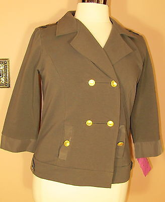 Marina Rinaldi Max Mara Strch Cotton Olive Military Short Jacket MR M/XL-2XL NWT