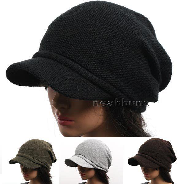 New men women VISOR BEANIE knit black Hat Cap NWT 1035 cotton
