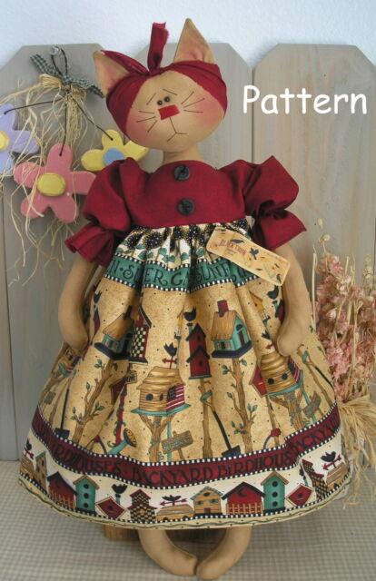 Primitive Raggedy Folk Art Kitty Cat Doll Farmhouse Sew Craft Paper Pattern #12