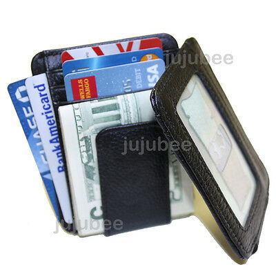 Genuine Leather MAGNETIC MONEY CLIP ID CARD HOLDER CASE Wallet Black