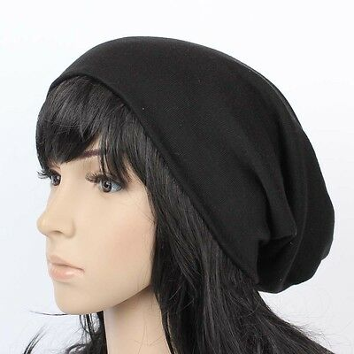 B18338 NEW UNISEX BEANIE KNIT HAT MEN'S WOMEN'S SLOUCH SKI CAP BLACK BAGGY