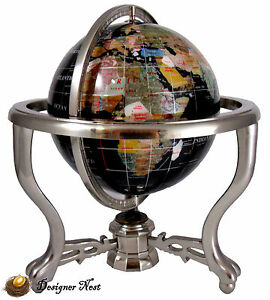 13 Quot Black Opalite Gem Stone World Map Globe Silver Stand