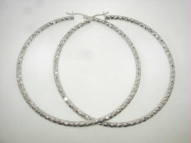 """1 1/8"""" - 2 5/8"""" Rhodium Sterling Silver Sparkling Diamond-Cut Hoop Earrings"""