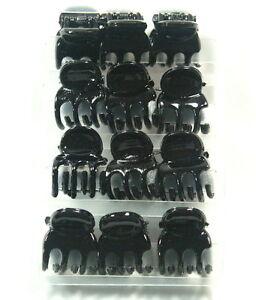 BLACK-MINI-HAIR-CLAW-CLAMPS-HAIR-CLIPS-HAIR-GRIPS-BULLDOG-CLIPS-1-CM-WIDE-X-12