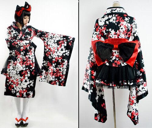 Robe ensemble waloli kimono geisha fleurs gothic lolita japon obi kawai Punkrave