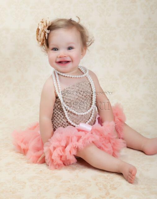 Newborn Baby Blush Coral Pink Pettiskirt Tutu Skirt Photo Porp Party 0-6M