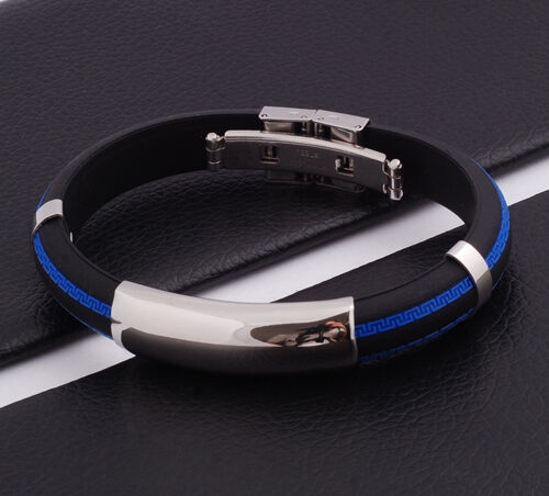 Unisex Men Women's Stainless Steel Rubber Silicone Bracelet Blue