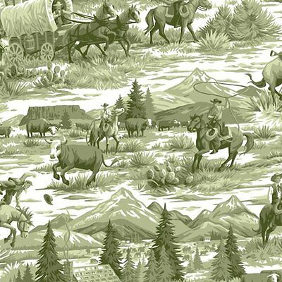 1 Yard of Fabric *** Rawhide Scenic Cowboy Toile **