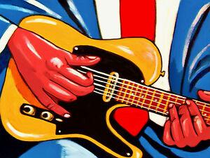 old blues hands print poster electric chicago blues fender telecaster guitar amp ebay. Black Bedroom Furniture Sets. Home Design Ideas