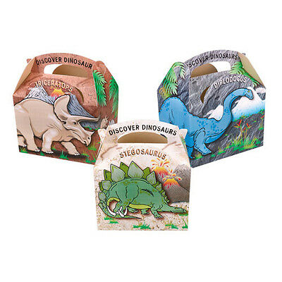 10 Childrens Kids Dinosaur Carry Food Loot Favour Birthday Party Bag Boxes