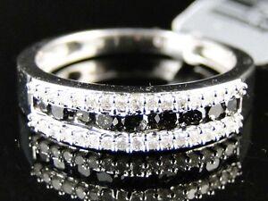 Womens White Gold Finish Round Cut Black Diamond Wedding Band Ring 1
