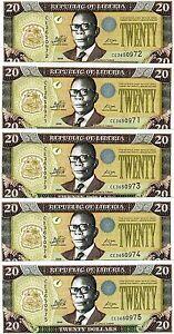 LOT-Liberia-5-x-20-dollars-2009-P-28-New-UNC