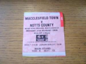 31-08-1998-Ticket-Macclesfield-Town-v-Notts-County-Complimentary-Folded-No