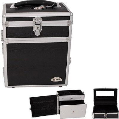 Black PRO Aluminum Jewelry Box Makeup Cosmetic Organizer Carry Beauty Train Case