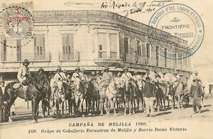 CARTE POSTALE ESPAGNE MELILLA 1909 GROUPE DE CAVALIERS QUARTIER REINE VICTORIA