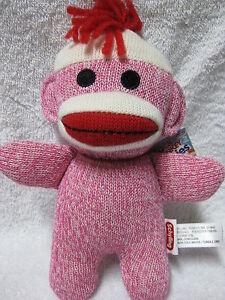 Sock Monkey Pink Baby 7.5 Inches Stuffed Animal Lovey Plush NEW BSMA