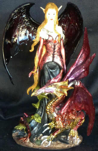 RUBY  Fairy with  Dragon  Statue Figurene 8""