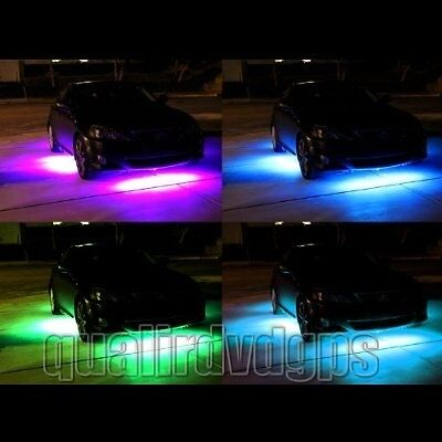 "7 Color LED Under Car Glow Underbody System Neon Lights Kit 36"" x 2 & 24"" x 2"