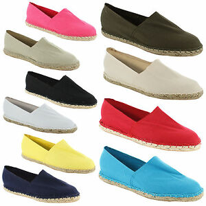 New-Ladies-Casual-Espadrille-Canvas-Pumps-Plims-Womens-Shoes-Size-UK-3-4-5-6-7-8