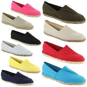 New-Ladies-Casual-Espadrille-Canvas-Pumps-Plims-Womens-Shoes-Size-UK-3-4-5-6-7-8