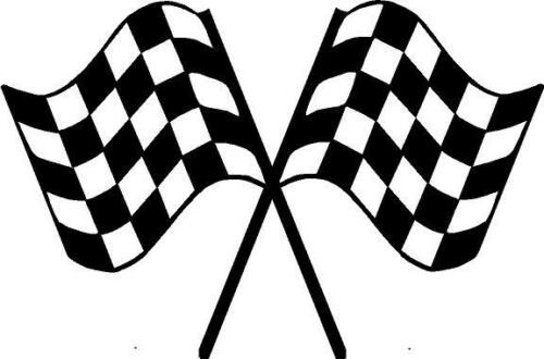"""CHECKERED FLAGS TRAILER Decal Crossed flag Race Car   Decals sticker 23/""""X36/"""""""