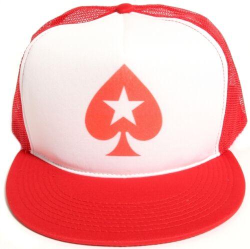 New Retro Poker Pique Star Flat Bill Chapeau Bonnet en maille//Mousse Truckers Snapback