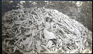 1900-039-s-AMERICANA-LOGGING-LADY-WITH-AXE-HUGE-LUMBER-PILE-WOOD-HAT