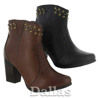 Señoras tacones altos Biker Botas Para Mujer Cowboy Tobillo Tachas Chelsea Botas Zapatos Talla