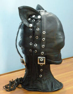 Real-leather-CAT-mask-hood-gimp-cuir-mask-slave-air-tight-kink-halloween