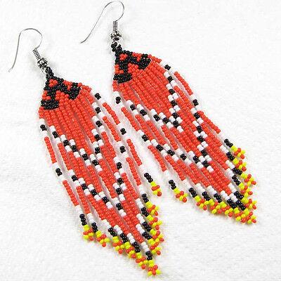 CORAL RED BLACK WHITE YELLOW BEADED EARRINGS HANDMADE BEAD JEWELRY E8/8