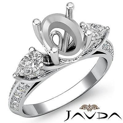 3 Stone Pear Oval Diamond Wedding Antique Ring Semi Mount 14k White Gold 1.21Ct